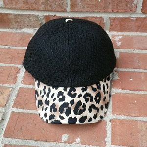 Jessica Simpson Black Boucle Leopard Trim Ball Cap
